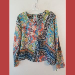 Johnny Was LS Button Front Print Boho Silk Top XS
